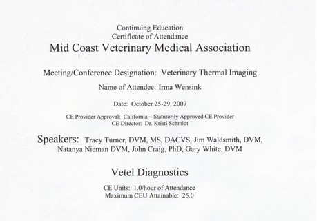 Certificaat Vetel Diagnostics Okt 07