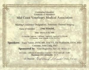 Certificaat Veterinary Thermal Imaging maart 2006